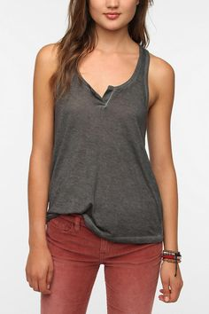 Staring At Stars Over-Dyed Henley Tank Top  #UrbanOutfitters