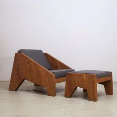 """""""Espasso"""" Armchair and Ottoman, designed by Zanini de Zanine in 2013, exclusively for us. Each piece is handcrafted in Brooklyn from solid oak or walnut wood"""