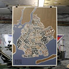 Brooklyn Neighborhood Map 18x24, $20, now featured on Fab.