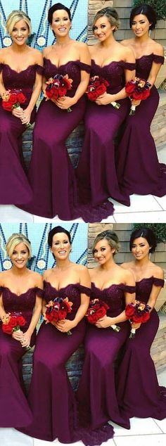 grape off shoulder bridesmaid dresses with beaded, chic wedding party gowns, elegant mermaid evening dresses with beaded.