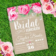 Printable Bridal Luncheon Invitation Template. Invite your guests to your Bridal Shower with our printable invitations.