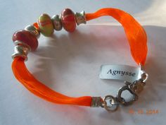 Agnysse - Orange ribbon pandora beads bracelet-1 - (taken by my niece - Natalie Ng)