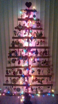 Ornament Display Trees A Modern Concept For A Holiday Tree Hang  - Christmas Decorating Ideas Without A Tree