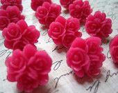 Pink Push Pins... 12 pc Flower Thumb Tacks, Cute Thumbtack Set, Fun Office Supply, Housewarming Gifts, Hostess Gifts, Wedding Favors