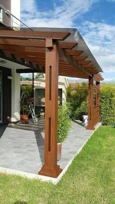 48 backyard porch ideas on a budget patio makeover outdoor spaces best of i like this open layout like the pergola over the table grill 27 Backyard Patio Designs, Wooden Pergola, Backyard Pergola, Pergola Designs, Diy Patio, Backyard Landscaping, Cheap Pergola, Backyard Porch Ideas, Covered Pergola Patio