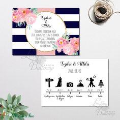 Nyári Elegáns Balatoni Esküvői meghívó, Nyári Esküvő, Tenger kék, virágok, virágos, balaton, Modern (LindaButtercup) - Meska.hu Diy Wedding, Modern, Design, Blessing, Tips, Trendy Tree, Design Comics