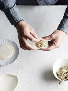 Pork and cabbage gyoza. Recipe – Julia Busuttil Nishimura & Norihiko Nishimura, Styling – Lucy Feagins, styling assistant – Nat Turnbull, photo – Eve Wilson on thedesignfiles.net