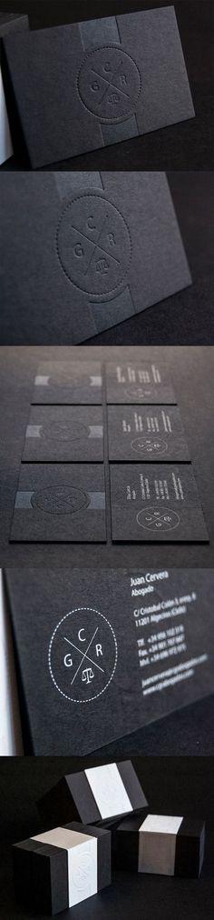 Slick And Professional Letterpress Minimalist Black Business Card Design #BusinessCards