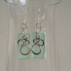 Aqua Blue Earrings Sterling Silver Bubble by BayMoonDesign on Etsy