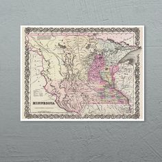 Antique Map of the State of Minnesota ca 1855 by PortofPrints