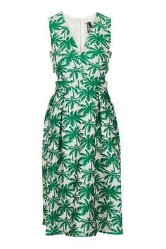 Palm Print Jacquard Mini Dress