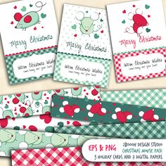 include beautiful templates and lovely digital papers.    Place your text and enjoy Christmas cards with little mouse.