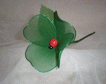 Handmade Nylon Green Ladybird Flower, Wedding favours, Anniversaries, Celebrations, Birthdays, Dinner parties, Decorations, Gifts.