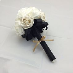 Bridesmaid or throw flower bouquet, black and white wedding silk ribbon made to order on Etsy, $51.97