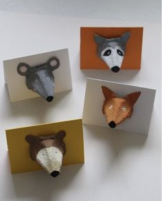 Upcycling: Soo cute: cards with forest animals from egg boxes - for the forest project . - Upcycling: Soo cute: cards with forest animals from egg boxes – for the forest project … Upcycl - Fall Crafts For Kids, Diy And Crafts, Paper Crafts, Forest Animals, Woodland Animals, Egg Carton Crafts, Bunny And Bear, Post Animal, Woodland Nursery Decor