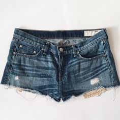 rag & bone denim Mila shorts Like new condition, only worn a few times. Cut off style with exposed pockets and distressed characteristics. No real signs of wear. Only selling because they're too big for me now. rag & bone Shorts Jean Shorts