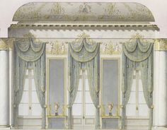 Rossi, Carlo (1775-1849). Window wall of the White Hall, Mikhailovsky Palace, St Petersburg c.1828. Here the design clearly demonstrates the supremacy of the neoclassical style in the 19th century; the lines are clear and the decoration is restrained; the only elements that still remind us of rococo are the painted decorations over the windows and the few gilded elements. All speaks about the solemn return to a respectful, heroic, distant past of a noble antiquity.