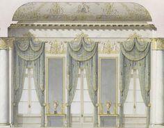 Pared de la ventana del Salón Blanco, Mijailovski Palacio, San Petersburgo (construido en 1819-1825, un palacio neoclásico del gran duque Miguel Pavlovich de Rusia, diseñada por Carlo Rossi, en la actualidad alberga el Museo del estado ruso desde 1895)