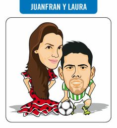 Caricatura de Juanfran y su pareja. Jugador del R. Betis Balompié.