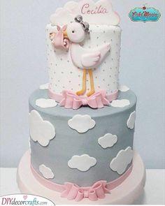 A Baby Bundle – Stork Cake Ideas Ein Baby-Bündel – Storch-Kuchen-Ideen Tortas Baby Shower Niña, Gateau Baby Shower, Baby Shower Cakes, Pretty Cakes, Cute Cakes, Beautiful Cakes, Amazing Cakes, Stork Cake, Stork Baby Showers
