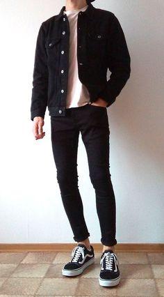 [ VISIT FOR MORE vans old skool black skinny jeans boys guys outfit Outfit Jeans, Vans Outfit Men, Sperrys Outfit, Vans Old Skool Outfit, Black Outfit Men, Vans Men, Mode Outfits, Jean Outfits, Fashion Outfits