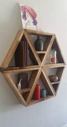 Hexagonal shelves by StraightFaced on Etsy, Los Angeles Easy Projects, Wood Projects, Project Ideas, Sewing Projects, Wood Shelves, Floating Shelves, Shelving, Wood Furniture, Furniture Design