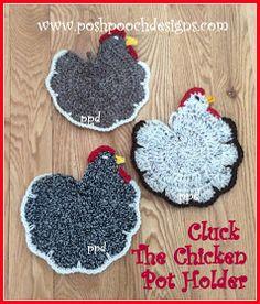 Posh Pooch Designs Dog Clothes: Cluck, The Chicken Pot Holder | Posh Pooch Designs Crochet Placemat Patterns, Crochet Elephant Pattern, Crochet Potholders, Crochet Stitches Patterns, Crochet Coaster, Ravelry Crochet, Free Crochet, Crochet Cozy, Cotton Crochet