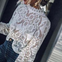 Guyueqiqin women's long sleeve lace tops casual hollow out stand collar shirt tees Stand Collar Shirt, White Shirts Women, White Women, White Lace Blouse, Girly, Lace Tops, White Long Sleeve, Shirt Blouses, Shopping
