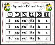 September Roll and Read Sight word Game product from Can-You-Read-It on TeachersNotebook.com