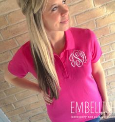Ladies Monogrammed Polo Shirts in 10 colors