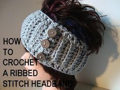 CROCHET HEADBAND PATTERN, youtube video tutorial, how to crochet a ribbed stitch headband.    Learn how to add a new yarn, or change colors in crochet here: http://www.youtube.com/watch?v=dr2ETOSMQUs=PL166DA68A2E700BDB=121    GET YARN AND HOOKS HERE: http://hectanoogapatterns.blogspot.ca/p/yarn-and-hooks.html  http://www.etsy.com/shop...
