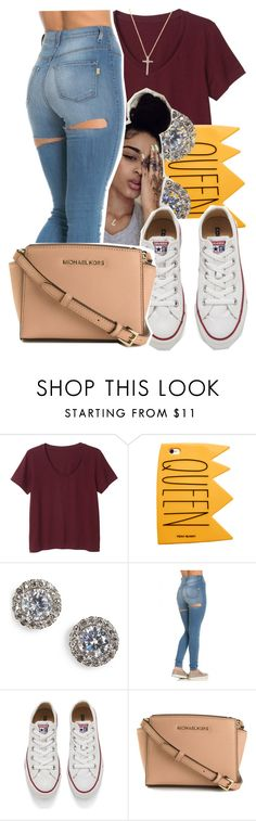 """6/23/16"" by lookatimani ❤ liked on Polyvore featuring Monki, Nadri, Converse, MICHAEL Michael Kors and Nephora"