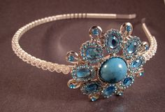 Side headband tiara with swarovski crystals & a turquoise and aqua embellishment