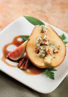 Gorgonzola-stuffed Italian Pears with Figs and Pecans