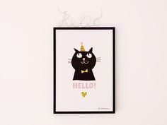 Poster HELLO CAT von finelittlepaper auf DaWanda.com