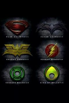 Justice league Logos in the style of Man of Steel