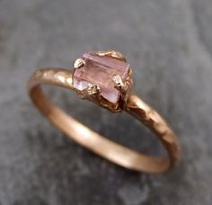 Raw Pink Tourmaline Rose Gold Ring Rough Uncut Pastel Pink Gemstone Promise engagement wedding recycled 14k Size stacking byAngeline by byAngeline on Etsy https://www.etsy.com/listing/245422158/raw-pink-tourmaline-rose-gold-ring-rough
