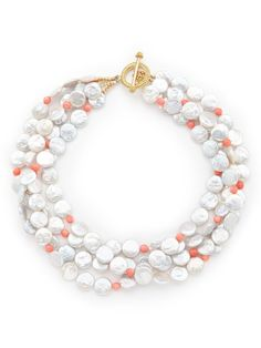 Freshwater Pearl & Coral Bead Multi-Strand Necklace by KEP on Gilt.com