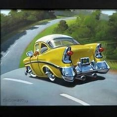 """repost via @instarepost20 from @doncokerart """"Free And Easy"""" is the name of this little oil on canvas of a '56 Chevy tooling down the highway. It's an 8""""x10"""" and is available. #56chevy #hotrodart #olskoolrodz #hotrodmagazine #instarepost20"""