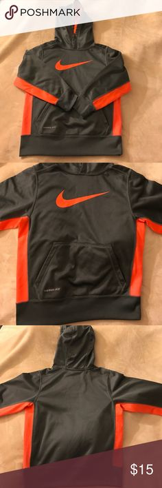 Small Youth Nike Hoodie Boys Nike Therma-Fit Nike Hoodie / Youth Small / Dark Gray & Neon Orange / No blemishes and only worn a few times. Nike Shirts & Tops Sweatshirts & Hoodies