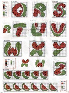 Alphabet watermelon Q-Z pattern 123 Cross Stitch, Cross Stitch Letters, Cross Stitch Boards, Back Stitch, Cross Stitch Designs, Stitch Patterns, Cross Stitching, Cross Stitch Embroidery, Embroidery Alphabet