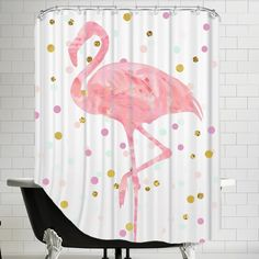 Brayden Studio Peach & Gold Flamingo on Confetti Shower Curtain Flamingo Bathroom, Flamingo Shower Curtain, Peach Bathroom, Floral Shower Curtains, Flamingo Decor, Shower Curtain Rods, Pink Flamingos, Bathroom Colors, Pink Showers
