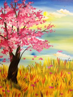 View Paint and Sip Artwork - Pinot's Palette Night Painting, Easy Canvas Painting, Art Painting, Spring Painting, Tree Art, Painting Inspiration, Painting, Art, Canvas Art