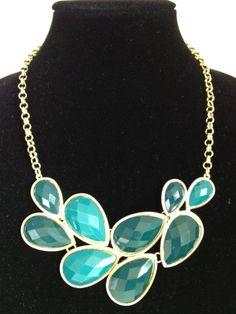 Teal Turquoise Aqua Gold Statement Bib Necklace. LOVE IT!