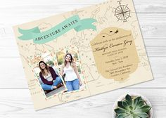 printable graduation invitation.  adventure awaits.  vintage map.