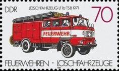Feuerwehr-Löschfahrzeug der DDR auf Briefmarke