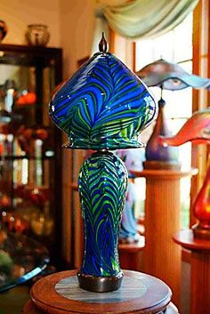 Boudoir Cobalt Blue and Apple Green King Tut Lamp by Lotton Art Glass. American Made. See the designer's work at the 2015 American Made Show, Washington DC. January 16-19, 2015. americanmadeshow.com #lamp, #lighting, #glass, #artglass, #americanmade