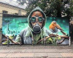 Street Art By in Copenhagen - Danimarca - Graffiti Graffiti Kunst, Graffiti Wall Art, Murals Street Art, Street Art Graffiti, Mural Art, Urban Street Art, 3d Street Art, Amazing Street Art, Street Artists