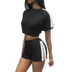 High Quality Fashion Women Short Sleeve Crew Neck Crop Top T-shirt And Shorts Lace Up Two Piece Set #Affiliate