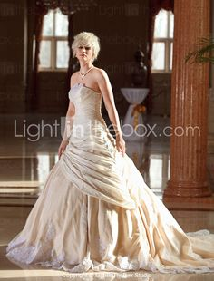A-line Plus Sizes Wedding Dress - Champagne Cathedral Train Strapless Taffeta/Lace 2015 – $249.99